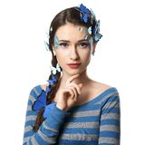 Girl with art make-up blue butterflies Stock Photo