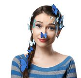 Girl art make-up with butterflies Royalty Free Stock Photo