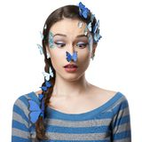 Girl art make-up with butterflies Royalty Free Stock Photography