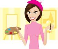Girl artist. Illustration of girl artist on background.Lifestyle of people vector illustration