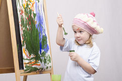 Free Girl Artist Paints On Canvas Royalty Free Stock Photo - 37787005