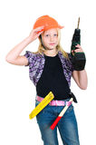 Girl as a craftman Royalty Free Stock Image