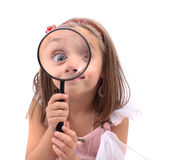 Girl as detective. Isolated on the white background stock photo