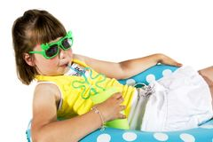 Girl as a movie-star. Little Girl with sunglasses as a movie-star look-a-like Royalty Free Stock Images