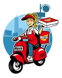 Girl as a pizza delivery service ride a scooter royalty free illustration