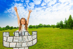 Girl as princess with hands up stands on tower Royalty Free Stock Photos