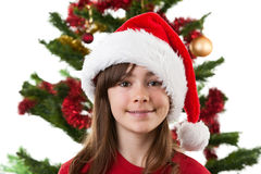 Girl as Santa Claus Stock Photo