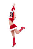 Girl as Santa dances Royalty Free Stock Photography