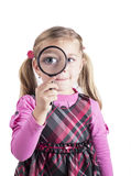 Girl as young detective royalty free stock images
