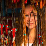 Girl in the Asian gift shop Royalty Free Stock Photos