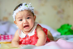 Girl. Asian little girl crying But still cute Royalty Free Stock Photo