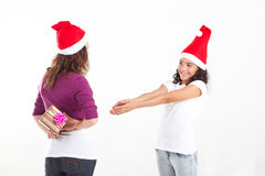Girl asking for gift Stock Photo