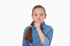 Girl asking for silence Stock Photography