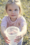 Girl asks to drink, thirsty water Stock Image