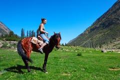 Girl astride a horse. The girl astride a horse in mountains Royalty Free Stock Photos