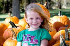 Girl At The Pumpkin Patch Stock Images