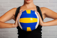 Girl athlete with the ball Royalty Free Stock Photos