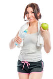 Girl athlete and healthy eating Royalty Free Stock Photography