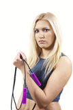 Girl is an athlete with a rope isolated Stock Photography