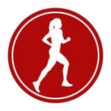 Girl athlete runner running. Sports sign icon girl athlete runner running Royalty Free Stock Photography