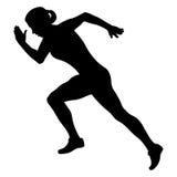 Girl athlete runner. Starting running black silhouette stock illustration