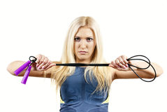 Girl athlete shows the rope Royalty Free Stock Image