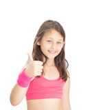 Girl athlete shows thumb Royalty Free Stock Photography