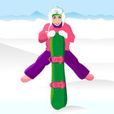 Girl athlete. Girl snowboarder. Winter sports. Leisure. Output in the open air. Fun Royalty Free Stock Image