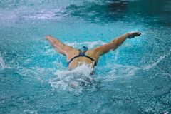 Girl athlete swims butterfly view from back Stock Images
