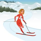 Girl athlete taking part in skiing competition. Cartoon sportswoman with physical disabilities. Paralympic winter games. Girl athlete taking part in skiing Royalty Free Stock Photography