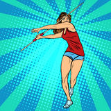 Girl athlete throwing javelin, athletics summer games Stock Images