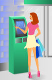 Girl and ATM Royalty Free Stock Photo