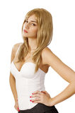 Girl attitude. Pretty blond girl with attitude, with hands on hips stock photos