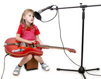Girl in audio studio Royalty Free Stock Image