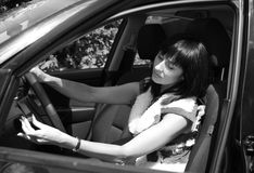 Girl in the automobile Royalty Free Stock Photos