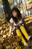 Girl in autumn. Photo of girl in autumn forest Royalty Free Stock Photos