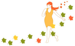 The girl autumn Stock Photos