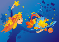 The girl-autumn Stock Photo