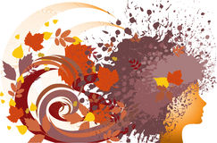 Girl - autumn. Silhouette of a female head with hair of autumn leaves and splash stock illustration