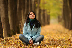 Girl and autumn Royalty Free Stock Photos