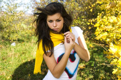 Girl in autumn. Photo of girl in autumn forest Royalty Free Stock Photography