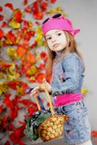 Girl in the autumn with a basket. Girl on an autumn background with a basket in which grapes. It is dressed in jeans a suit Stock Images