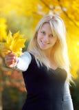 Girl with autumn bouquet Stock Photos