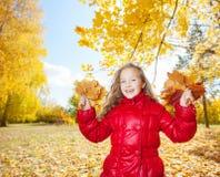 Little girl at autumn stock image