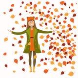 Girl in autumn clothes stock illustration