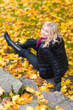 Girl and autumn color Stock Image