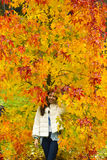 Girl with autumn colours Stock Photos