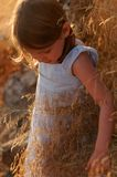 Girl in autumn countryside stock image