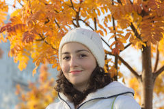 Girl in autumn day Stock Images