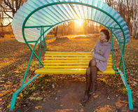 Girl in autumn evening Stock Images